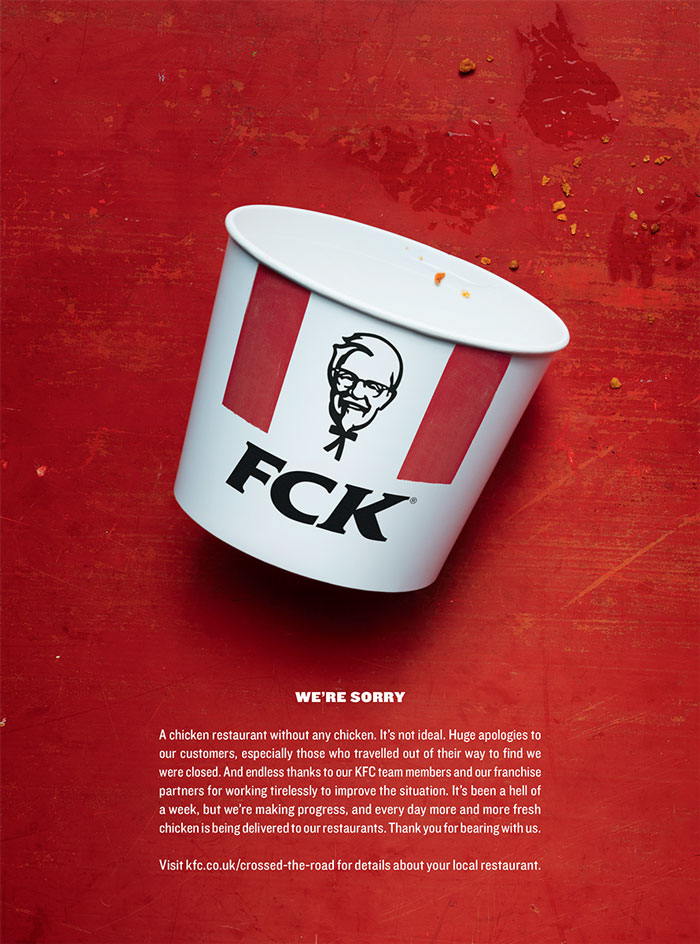 KFC - A chicken restaurant without any chicken. It's not ideal.