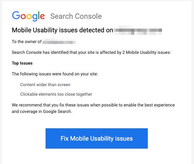 Screenshot of Google Search Console's Error Alerts