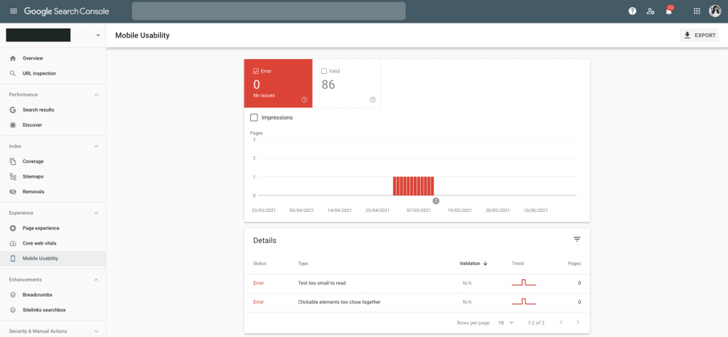 Screenshot of Google Search Console's Mobile Usability Report