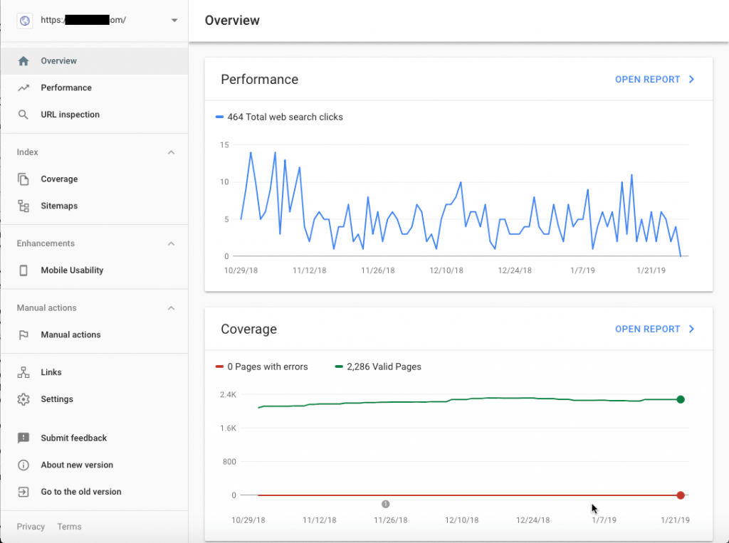 Screenshot of Google Search Console Overview