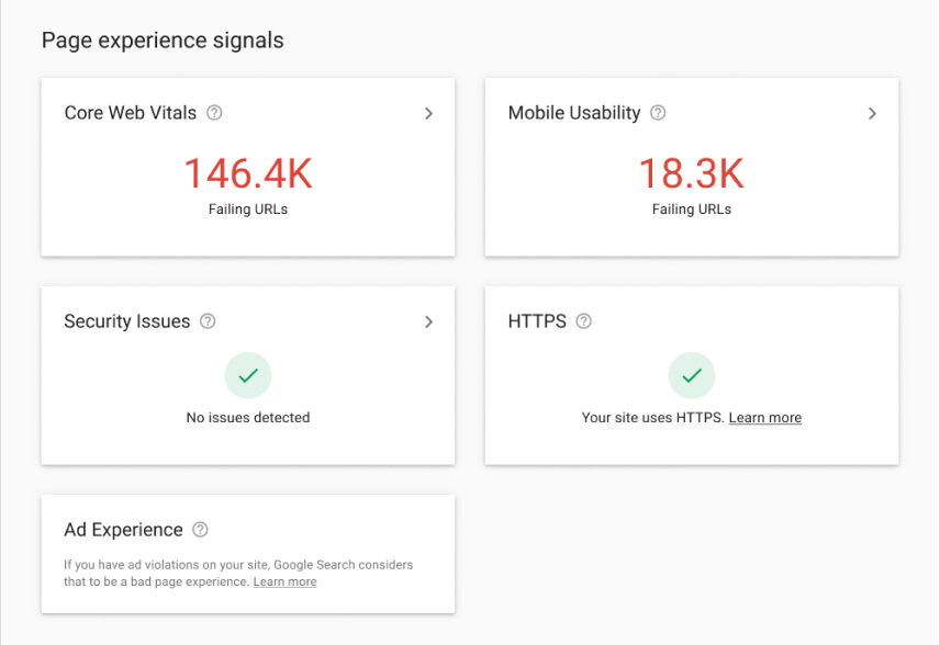 Screenshot of Google Search Console's Page Experience Signals