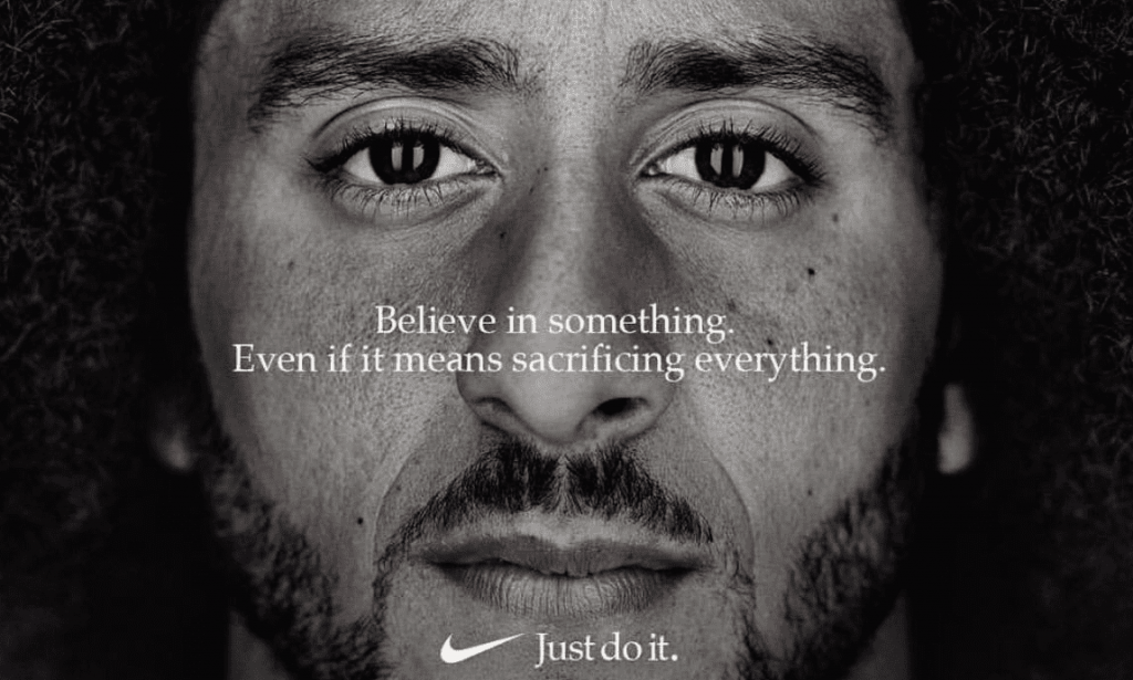 Mr Kaepernick with the #justdoit campaign for nike - controversial marketing campaign