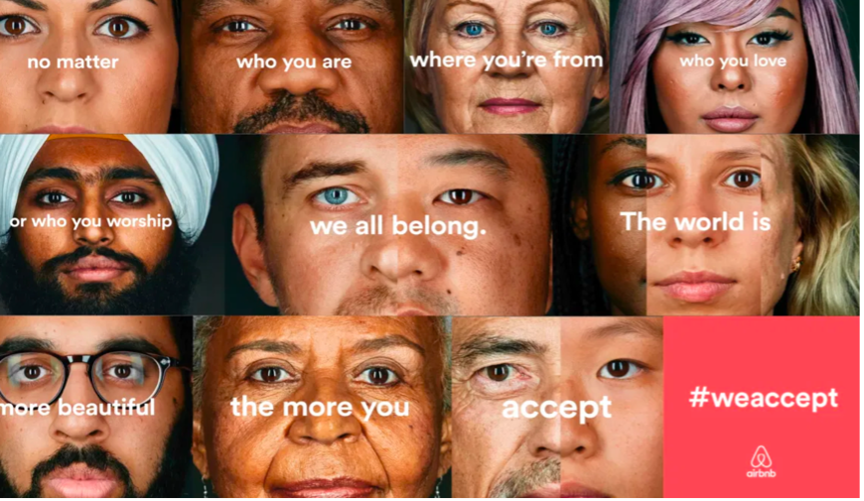 """a range of people from different cultures and backgrounds with """"we all belong"""" text and airbnb logo - controversial marketing campaign"""
