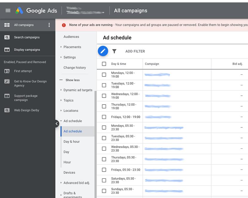 Google Ads Schedule